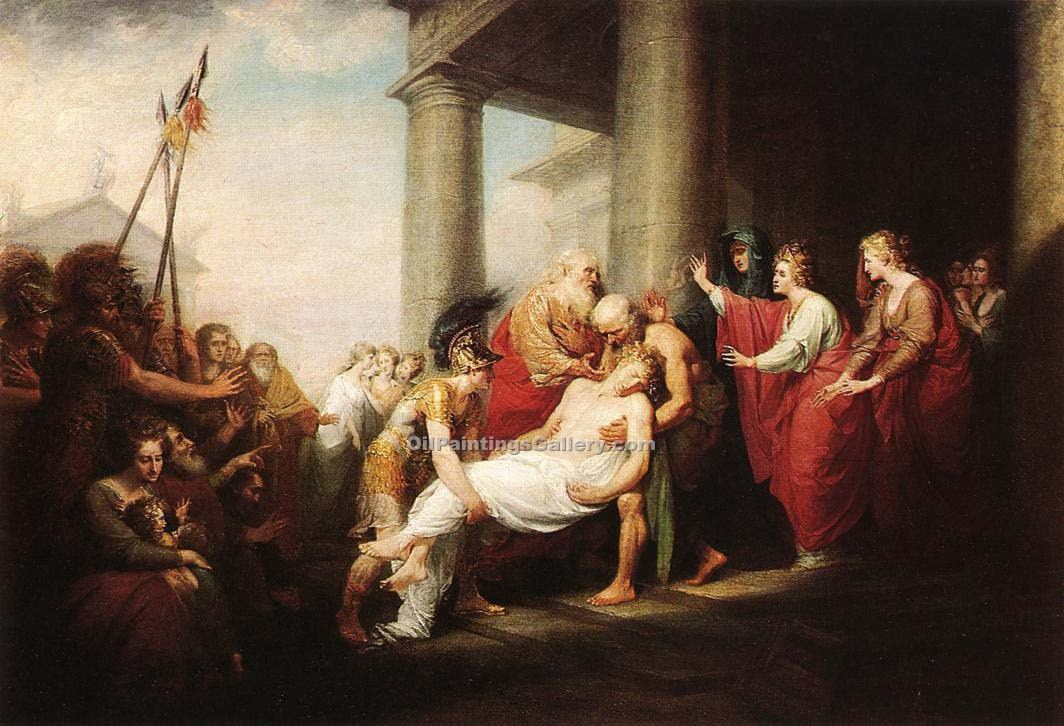 """Priam Returning to His Family"" by  John Trumbull"