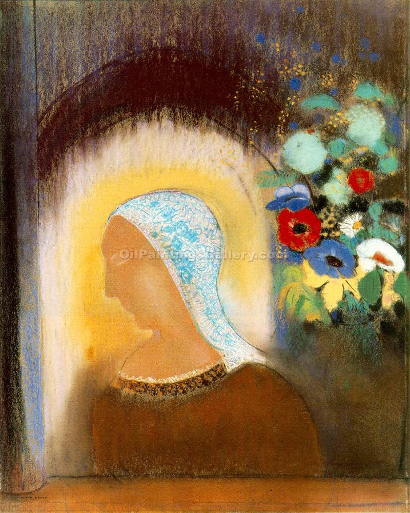 """Profile Flowers"" by  Odilon Redon"