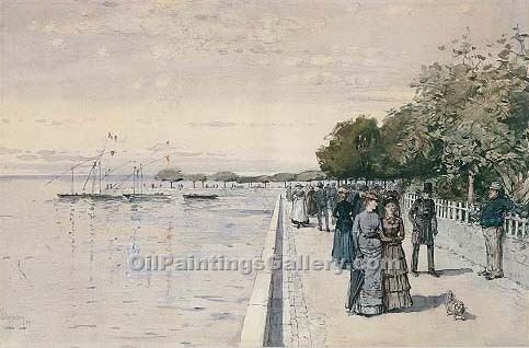 Promenade 11 by Hassam Frederick Childe | Modern Art Paintings - Oil Paintings Gallery