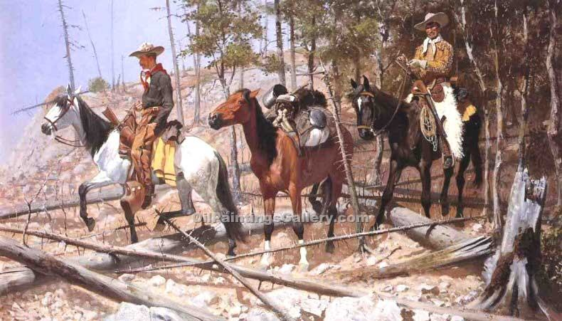 """Prospecting for Cattle Range"" by  Frederic Remington"