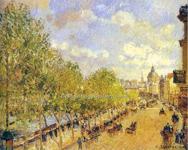 """Quay of Malaquais in the Sunny Afternoon"" by  Camille Pissarro"