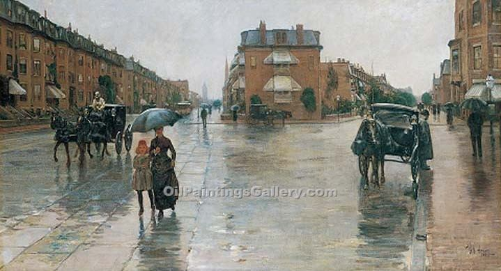 """Rainy Day Columbus Avenue Boston"" by  Frederick Childe Hassam"