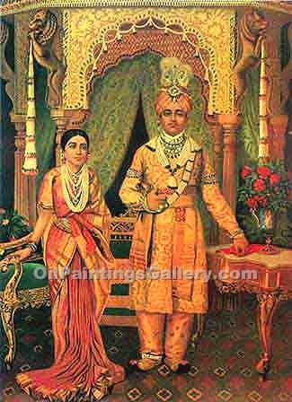 Raja and Rani by Raja Ravi Varma | Online Canvas Painting - Oil Paintings Gallery
