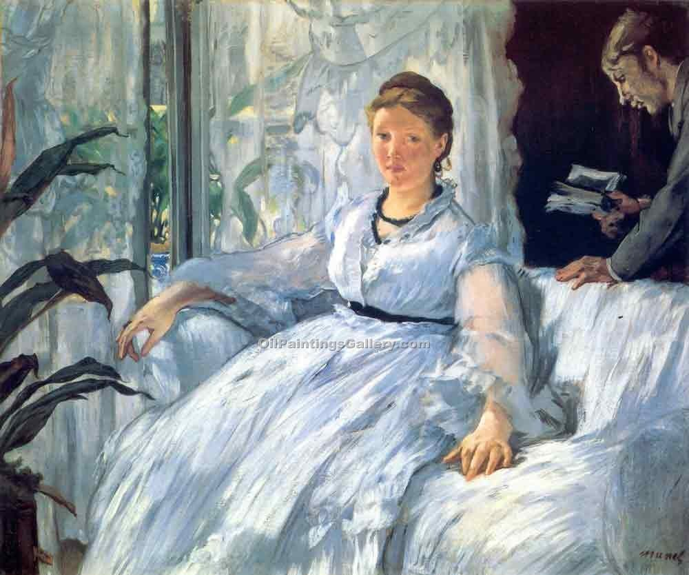 """Reading Mme Manet and Leon"" by  Edouard Manet"