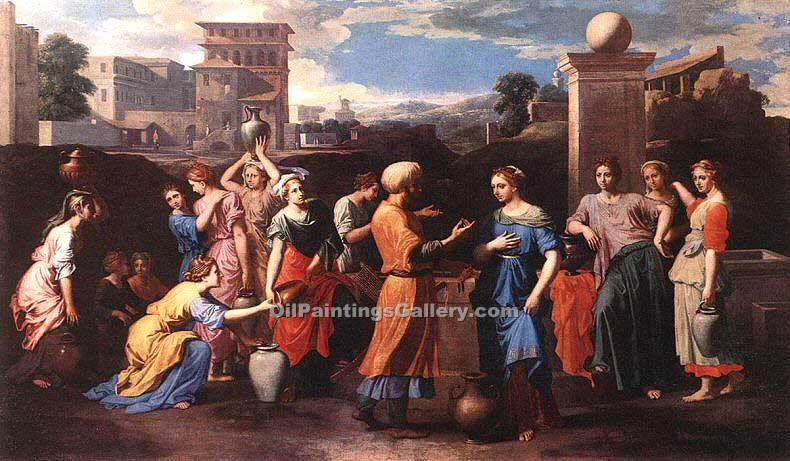 Rebecca at the Well by Poussin Nicolas | Abstract Art Online - Oil Paintings Gallery