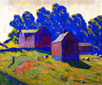 Red Barns by  Alan Tucker (Painting ID: LA-2971-KA)