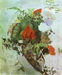 Red Flowers and Leaves of Begonia in a Basket by  Mikhail Aleksandrovich Vrubel (Painting ID: AB-6111-KA)