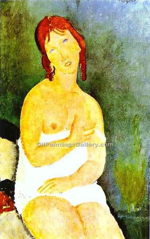 """Red Haired Young Woman in Chemise"" by  Amedeo Modigliani"