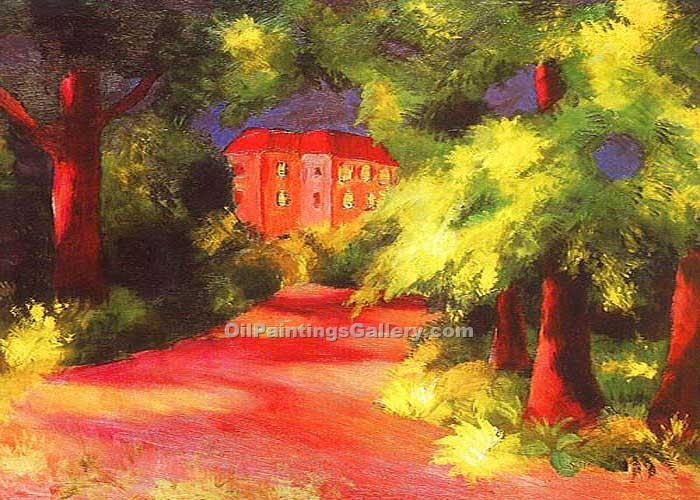 Red House in a Park by August Macke | Abstract Art Online - Oil Paintings Gallery