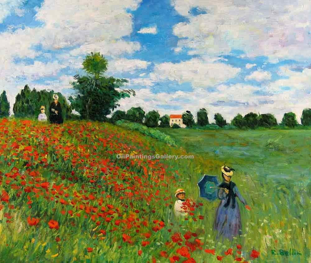 Red poppies at argenteuil by claude monet painting id mo for Monet paintings images