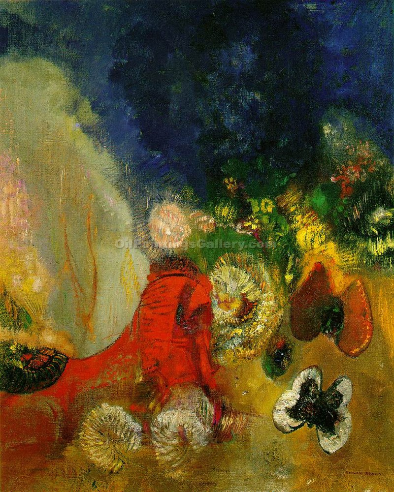 """Red Sphinx"" by  Odilon Redon"