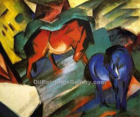"""Red and Blue Horses"" by  Franz Marc"