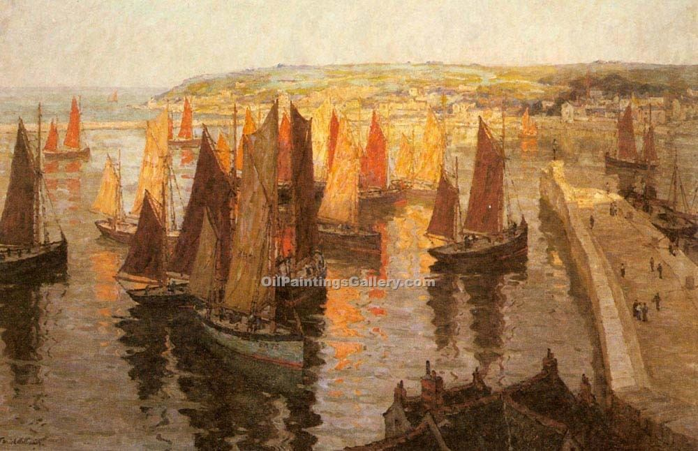 """Red and Gold Brixham"" by  Terrick Williams"