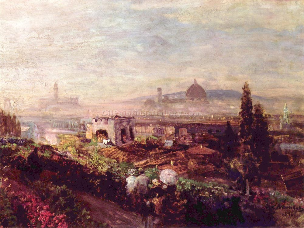 """Regard to Florence"" by  Oswald Achenbach"