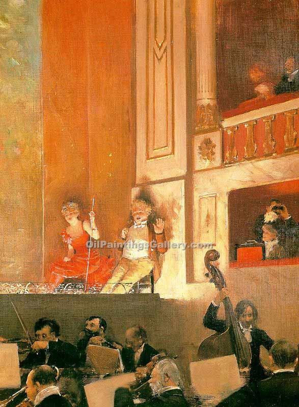 """Representation at the Theatre des Varietes Paris"" by  Jean Beraud"