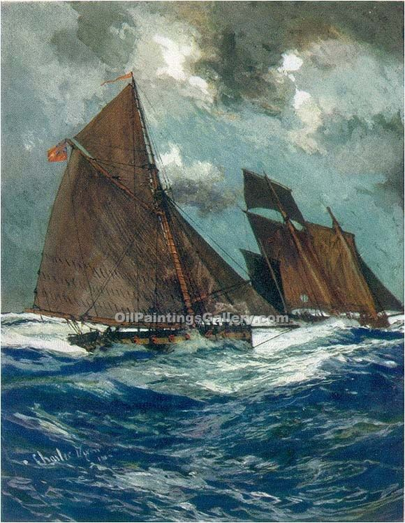 """Revenue Cruiser chasing Smuggling Lugger"" by  Charles Edward Dixon"