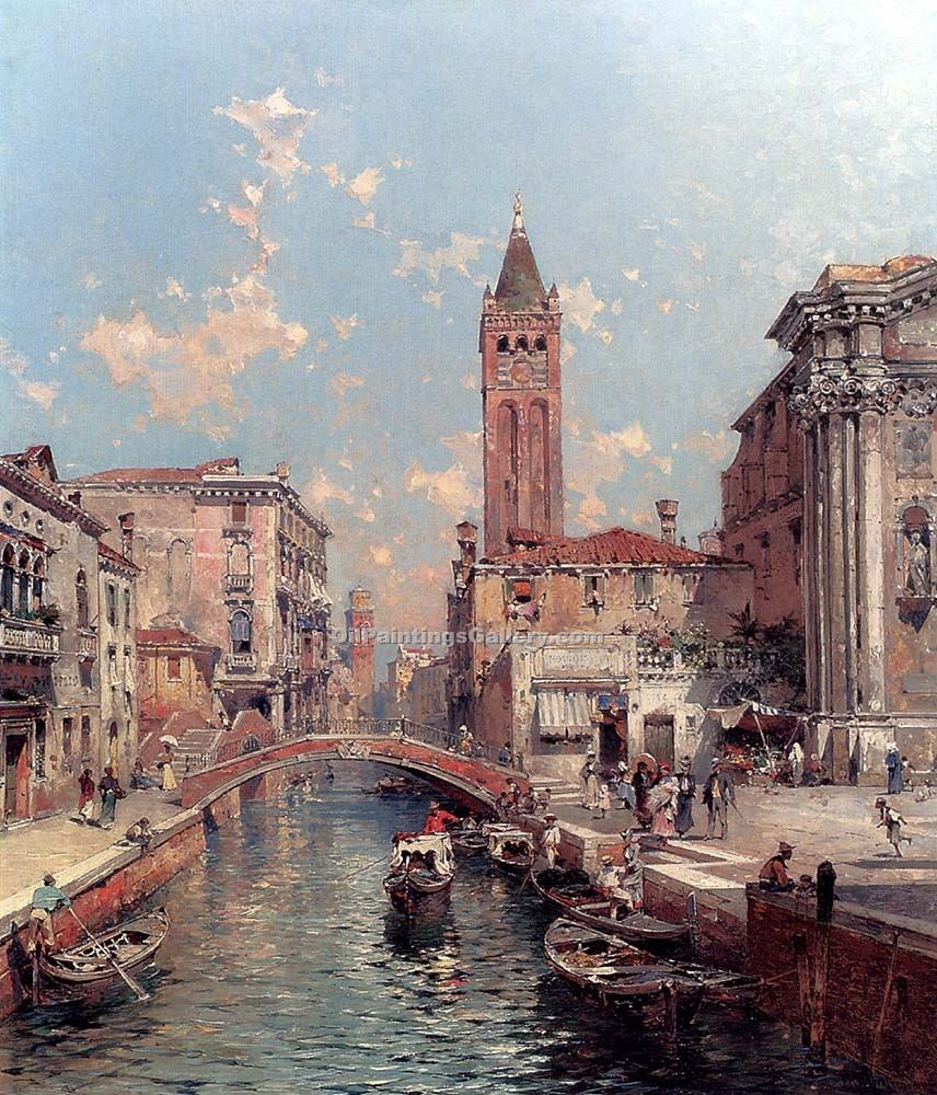 Rio Santa Barnaba Venice 30 by Franz Richard Unterberger | Abstract Oil Paintings - Oil Paintings Gallery