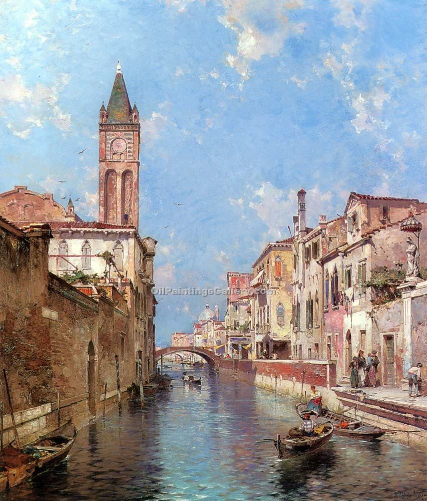 Rio St. Barnaba Venice 31 by Franz Richard Unterberger | Acrylic Paintings - Oil Paintings Gallery