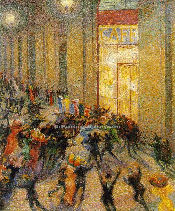 """Riot in the Galleria"" by  Umberto Boccioni"