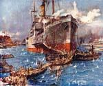 River Clyde at V Beach, Cape Hellas, Gallipoli Peninsula by  Charles Edward Dixon (Painting ID: CI-3118-KA)