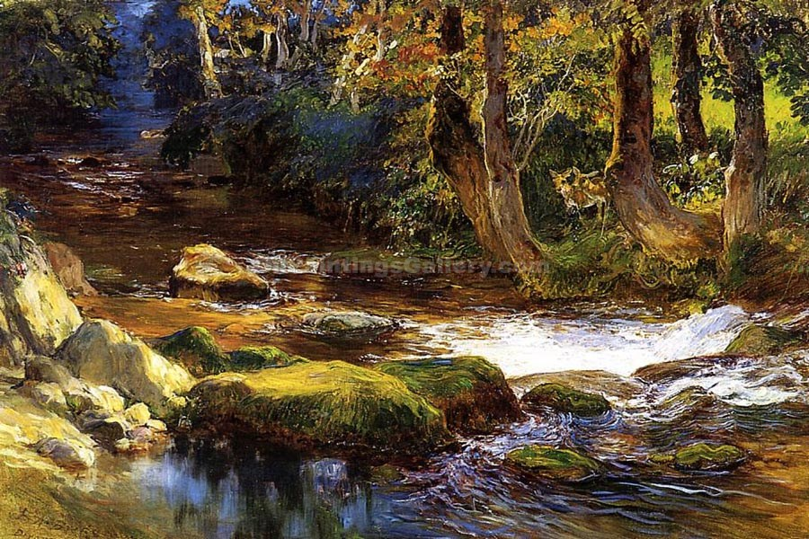 River Landscape with Deer by Frederick Arthur Bridgman | World Paintings Gallery