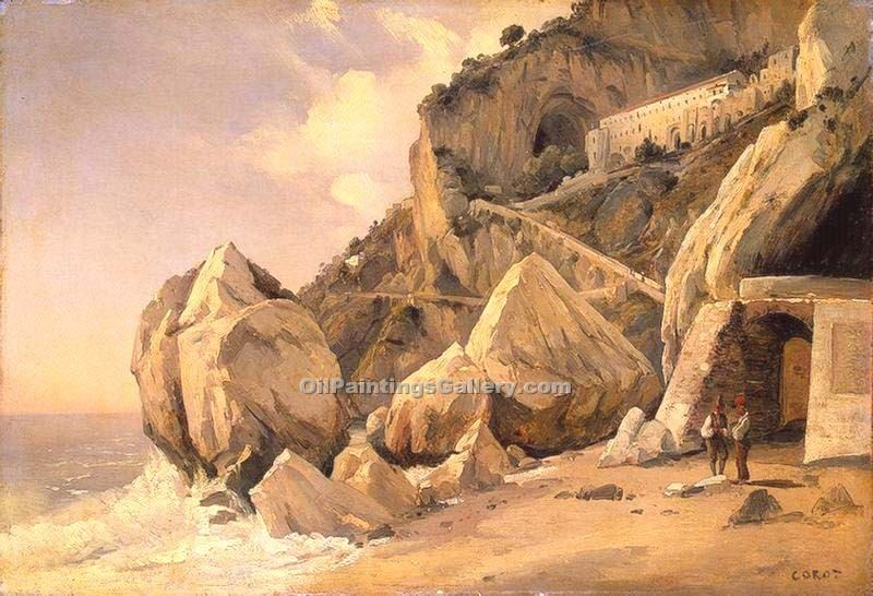 Rocks in Amalfi by Jean BaptisteCorot | Landscape Oil Paintings - Oil Paintings Gallery