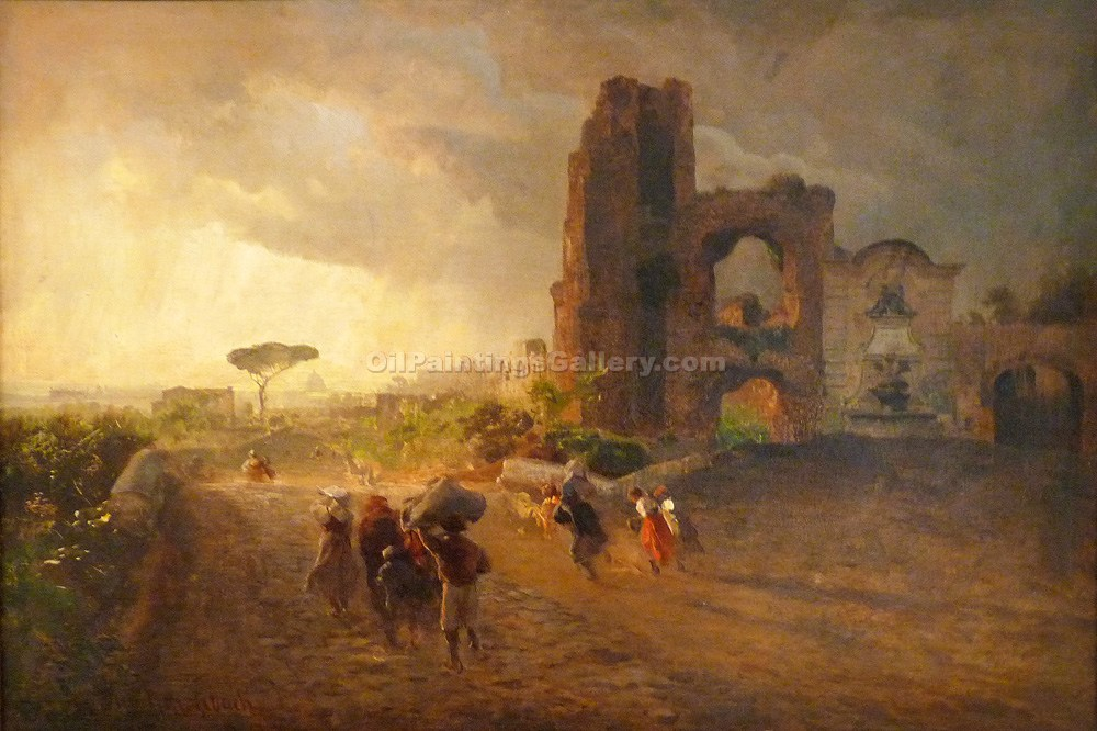 Roman Landscape by Achenbach Oswald | Painting Artists - Oil Paintings Gallery