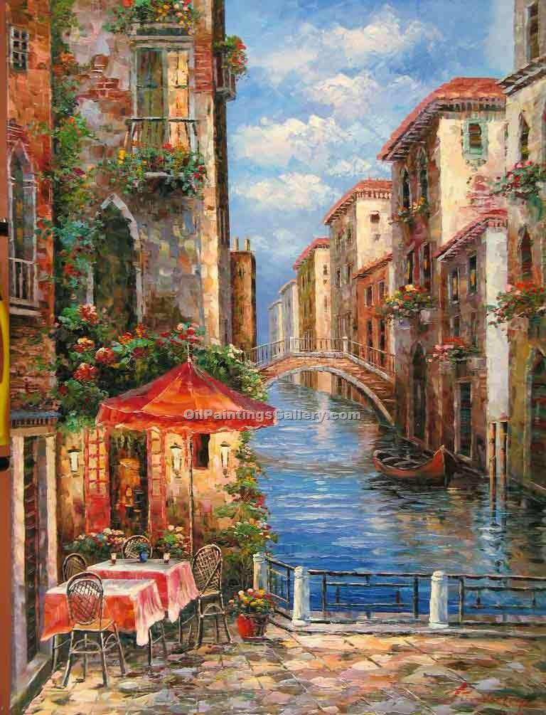 Buy City Oil Paintings Online | Realism & Naturalism styles | Romantic Cafe 04