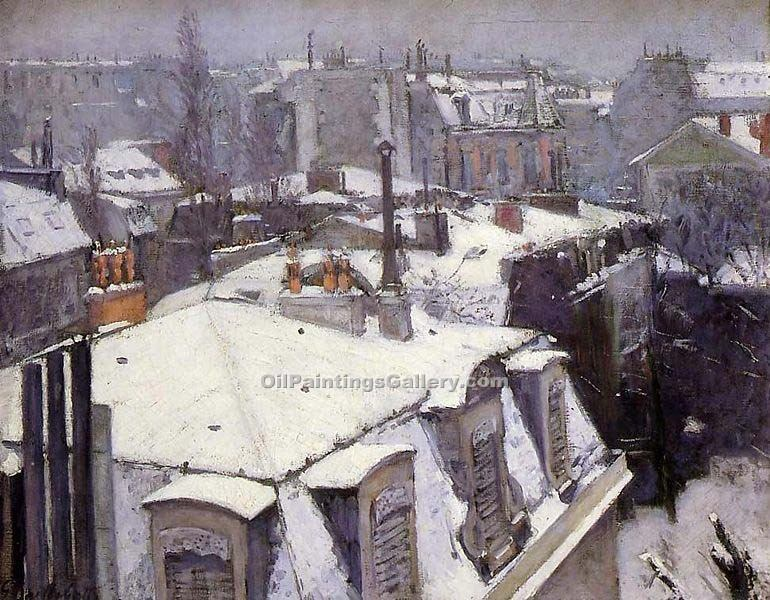 """Rooftops Under Snow"" by  Gustave Caillebotte"