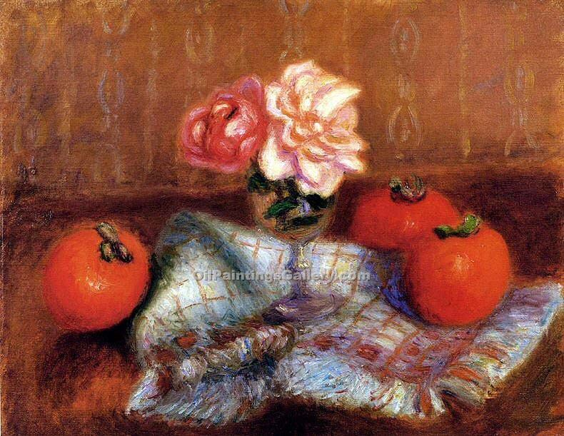 """Roses And Persimmons"" by  William Glackens"