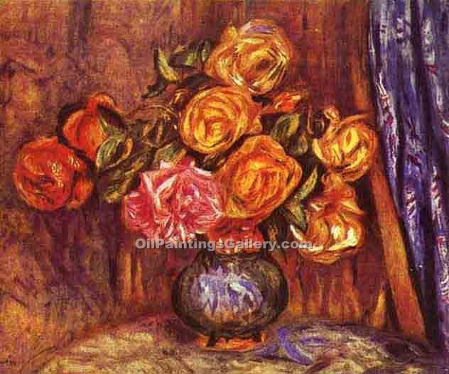 """Roses Before the Blue Curtain"" by  Pierre Auguste Renoir"