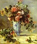 Roses and Jasmin in a Delft Vase by  Pierre Auguste Renoir (Painting ID: SL-0212-KA)