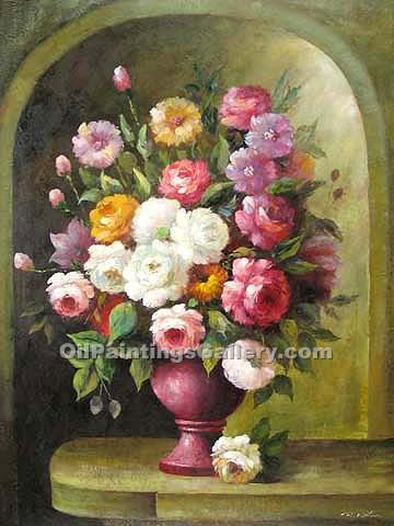 Roses In A Pink Vase Painting Id Sl 4575 Ka