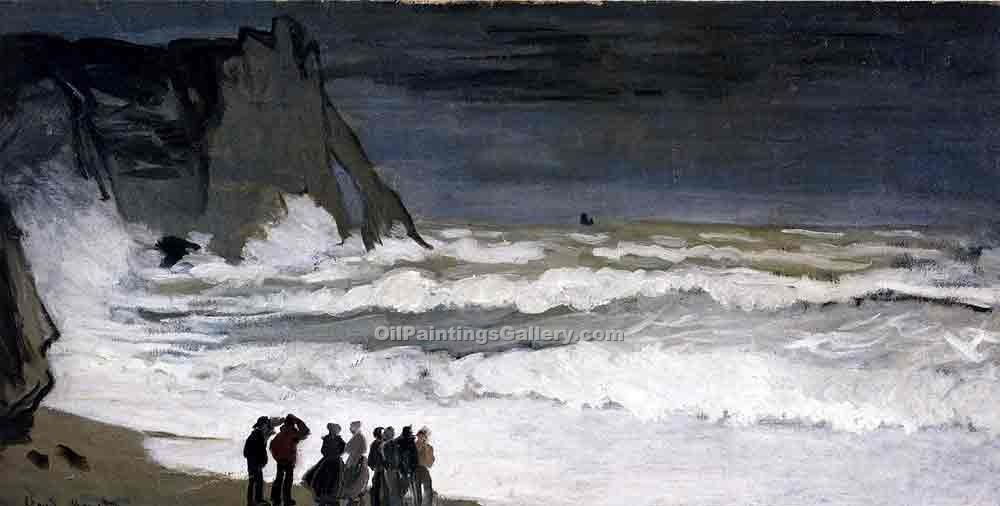 """Rough Sea at Etretat"" by  Claude Monet"