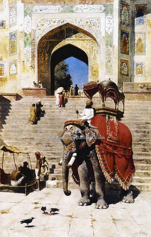 Royal Elephant by Edwin Lord Weeks | Gallery Of Paintings - Oil Paintings Gallery