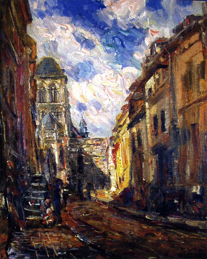 Rue Bourbon by Joseph Kleitsch | Modern Painting Reproductions - Oil Paintings Gallery