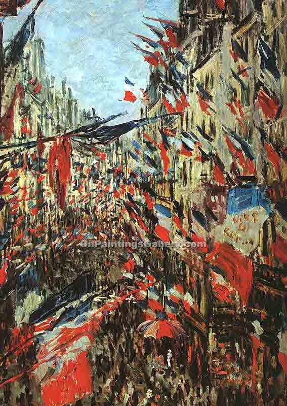 """Rue Montargueil with Flags"" by  Claude Monet"