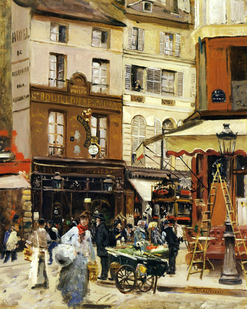 Rue de Montmartre by Jean Francois Raffaelli | Art Paintings For Sale - Oil Paintings Gallery
