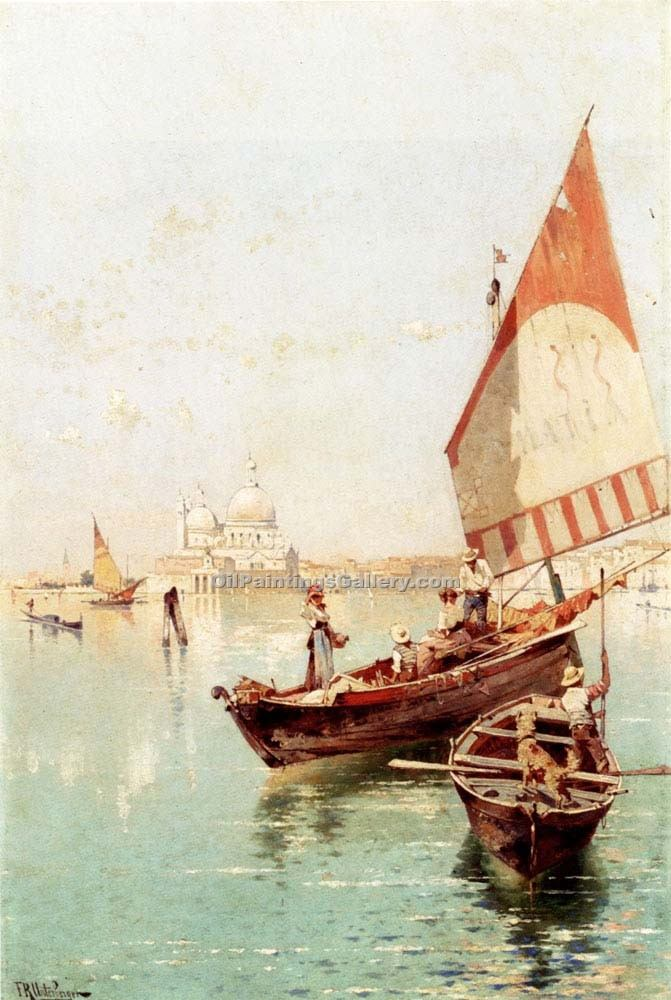 """Sailboat In a Venetian Lago"" by  Franz Richard Unterberger"