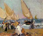 Sailing Vessels on a Breezy Day, Valencia by  Bastida Joaquin Sorolla (Painting ID: CL-0748-KA)