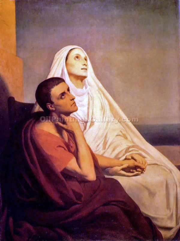 Saint Augustine and His Mother by Scheffer Ary | Artwork Paintings - Oil Paintings Gallery