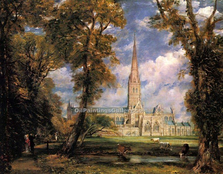 """Salisbury Cathedral from the Bishops Grounds"" by  John Constable"