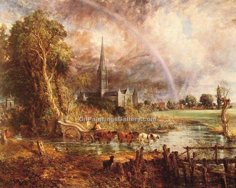 """Salisbury Cathedral from the Meadows"" by  John Constable"