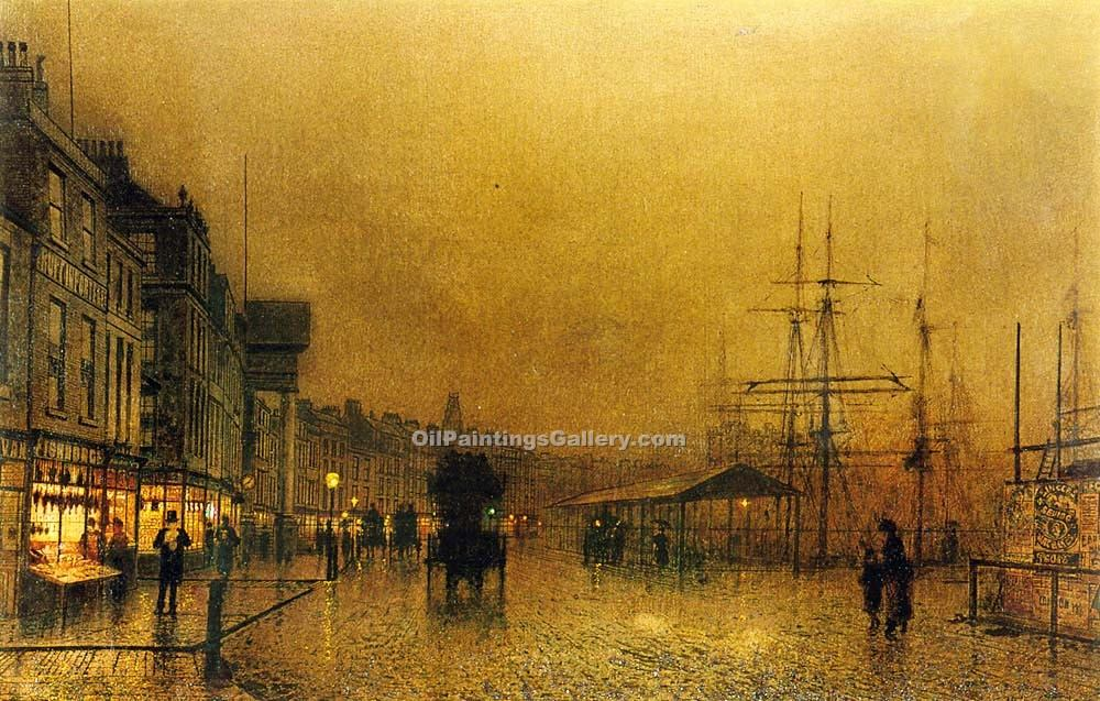 """Salthouse Dock, Liverpool"" by  John Atkinson Grimshaw"