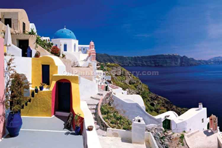 Buy Oil Painting Landscapes Online | Realism & Naturalism styles - Santorini