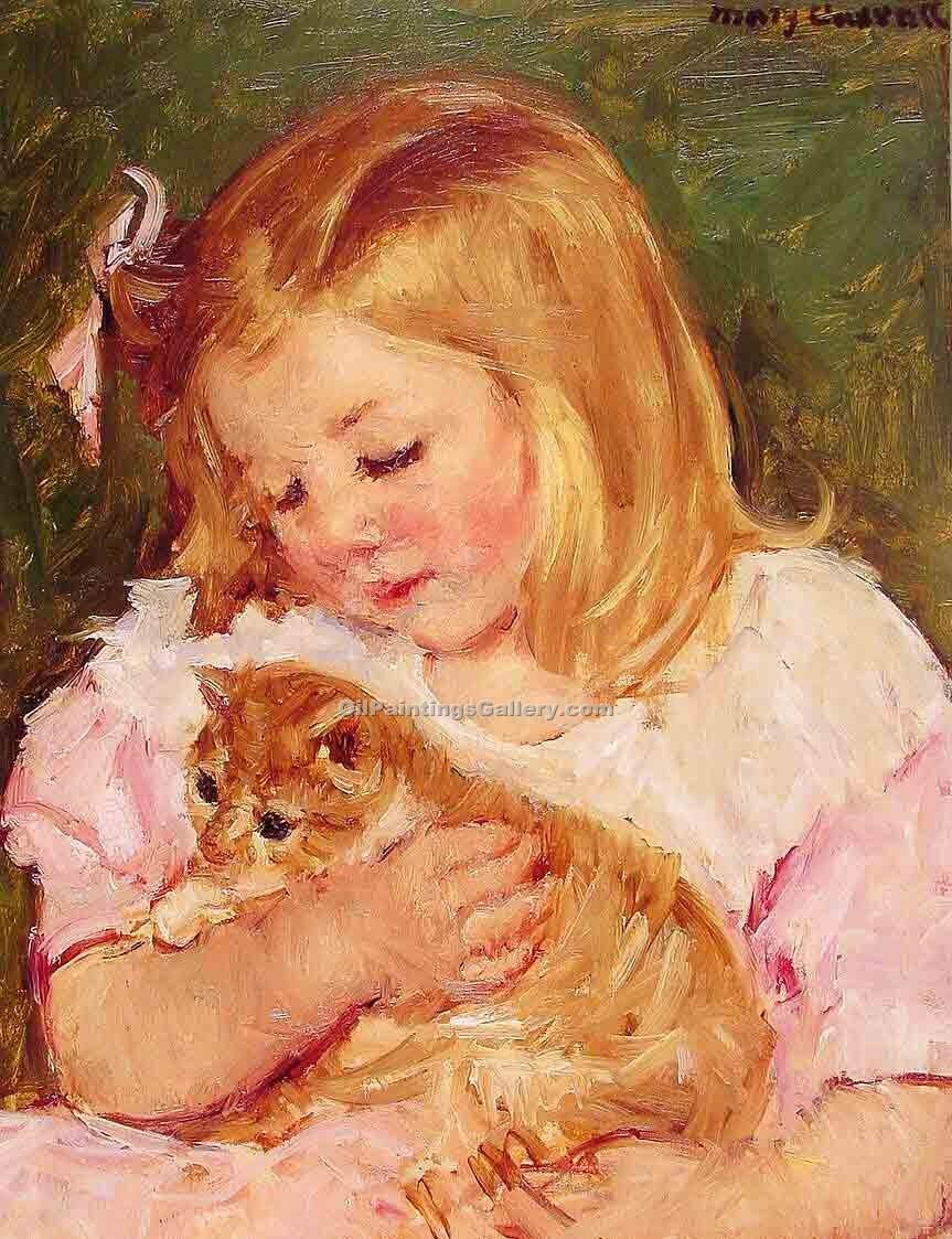 """Sara Holding a Cat"" by  Mary Cassatt"