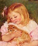 Sara Holding a Cat by  Mary Cassatt (Painting ID: EI-0017-KA)