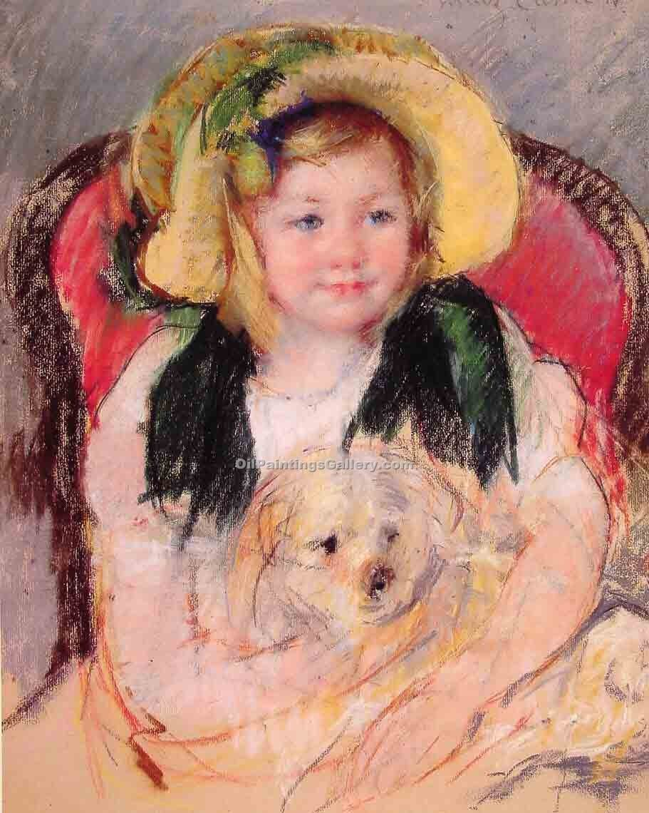 """Sara with Her Dog, in an Armchair"" by  Mary Cassatt"