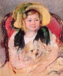 Sara with Her Dog, in an Armchair by  Mary Cassatt (Painting ID: EI-0016-KA)