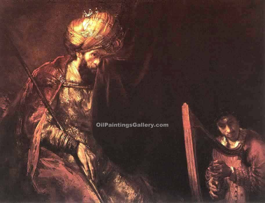 """Saul and David"" by  Harmenszoonvan Van Rijn Rembrandt"